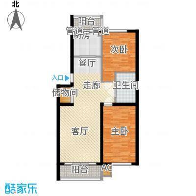 东方之珠龙兴苑104.14㎡四期E户型2室2厅1卫