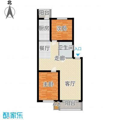 东方之珠龙兴苑95.81㎡四期F户型2室2厅1卫