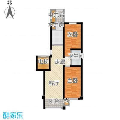 东方之珠龙兴苑92.29㎡四期I户型2室1厅1卫