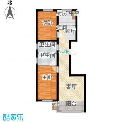 东方之珠龙兴苑95.00㎡A户型2室2厅1卫