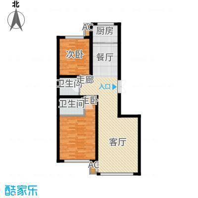 东方之珠龙兴苑103.25㎡J户型2室2厅1卫
