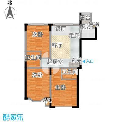 彩虹风景107.23㎡高层户型F户型3室1厅1卫2厨