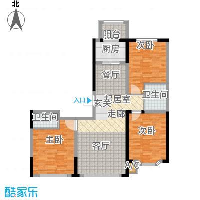 彩虹风景119.71㎡高层户型E户型3室2厅1卫2厨