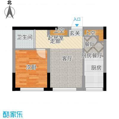 彩虹风景49.86㎡高层户型D户型1室2厅1卫1厨