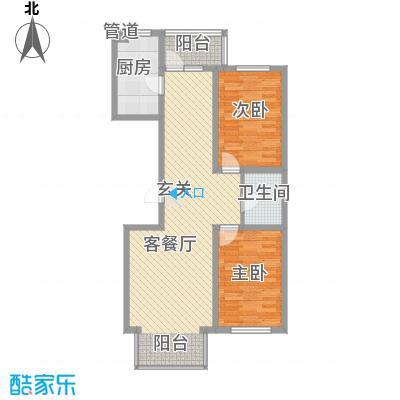 东皇先锋104.00㎡J户型2室2厅1卫
