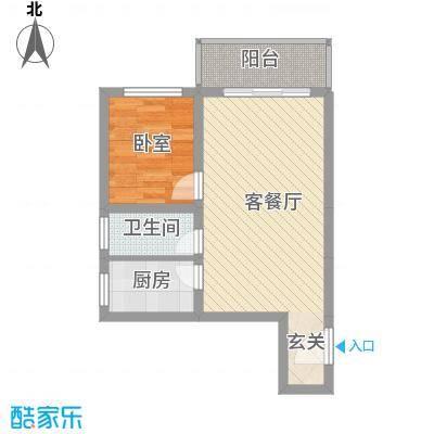 紫东公寓49.83㎡F户型1室2厅1卫1厨