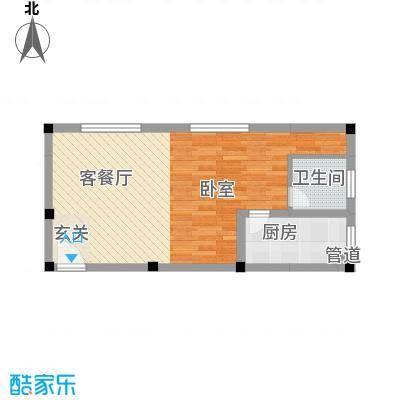 紫东公寓48.34㎡K户型1室1厅1卫1厨