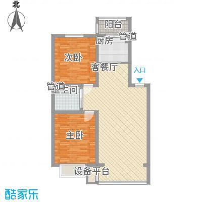 吴中印象95.00㎡二期C顶楼户型2室2厅1卫