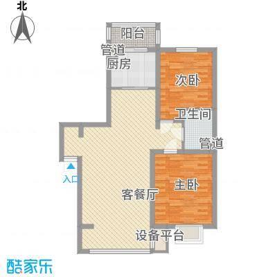 吴中印象98.34㎡二期E户型2室2厅1卫