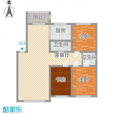 万龙第五城128.04㎡万龙第五城户型图二期户型图B3室2厅2卫户型3室2厅2卫