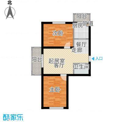 金美程家园76.05㎡D6户型2室2厅1卫
