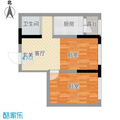 地铁名典小区57.07㎡A户型2室1厅1卫1厨