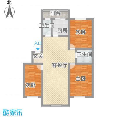 新月花园121.00㎡新月花园户型图3室2厅2卫1厨户型10室