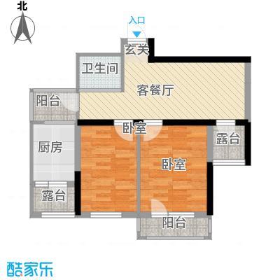 地铁名典小区81.83㎡D户型2室2厅1卫1厨