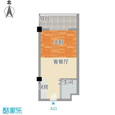 马塞公寓41.16㎡F户型1室1厅1卫1厨