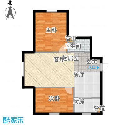 龙城富苑73.58㎡一期多层户型2室2厅1卫