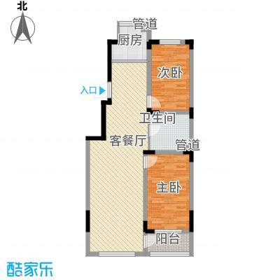 天富北苑103.70㎡H户型2室2厅1卫