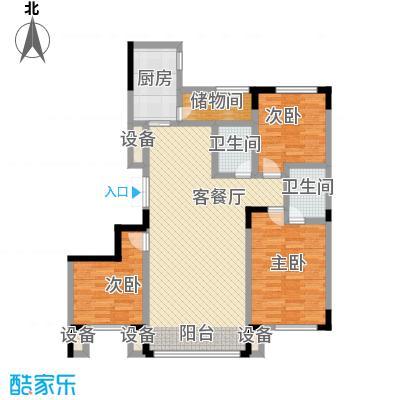 亚泰东城世家131.80㎡三室二厅户型3室2厅1卫1厨