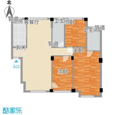 万科上东区122.19㎡万科上东区户型图五期户型图3室2厅2卫户型3室2厅2卫