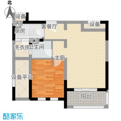 古北御庭74.00㎡古北御庭户型图6#C21室2厅1卫1厨户型1室2厅1卫1厨