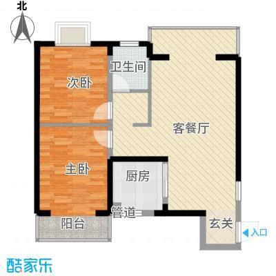 西双版纳滨江果园避寒度假山庄88.92㎡福江苑户型-05户型2室2厅1卫