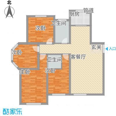 东地华庭141.40㎡东地华庭户型图花园洋房A4户型图4室2厅2卫户型4室2厅2卫