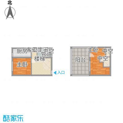 东皇君园46.79㎡新品B1户型2室1厅1卫