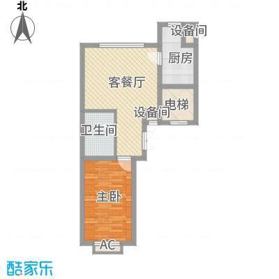 锦绣东方61.79㎡二期户型图06户型1室1厅1卫1厨