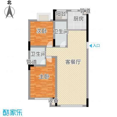 天成领寓92.71㎡户型图GE户型2室2厅2卫