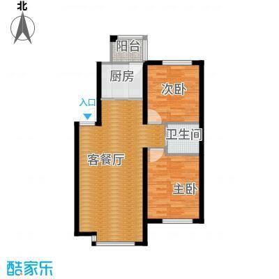 荣旺天下87.62㎡二期D11号楼C户型2室1厅1卫1厨