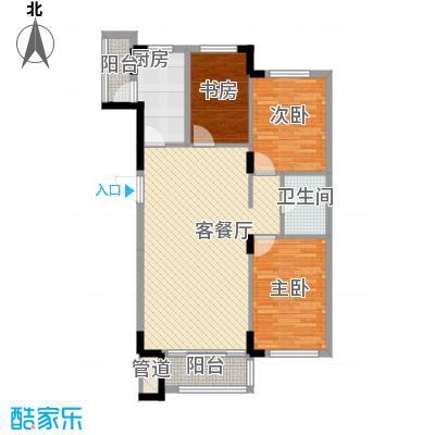 飞悦经典106.76㎡08高层户型图1户型3室2厅1卫