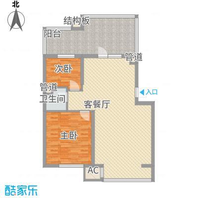 飞悦经典83.22㎡B1'户型(顶层)户型2室2厅1卫