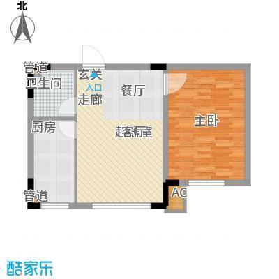 台北雅苑57.92㎡D2户型1室2厅1卫