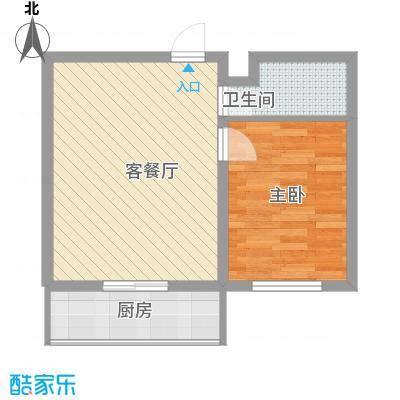 阳光御景56.24㎡1号楼E户型1室2厅1卫