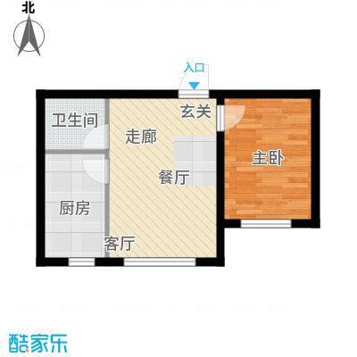 波尔的家55.00㎡一室一厅户型1室1厅1卫1厨