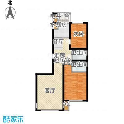东方之珠龙兴苑104.66㎡四期D户型2室2厅2卫