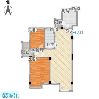 万科上东区106.60㎡万科上东区户型图情景花园洋房2室2厅1卫1厨户型2室2厅1卫1厨