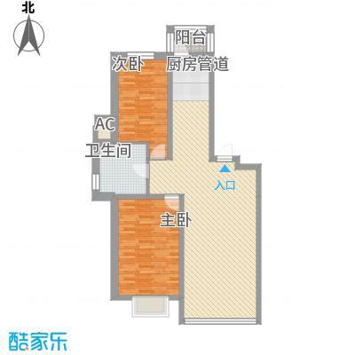 瀚邦凤凰城110.83㎡二期观月居户型2室2厅1卫1厨
