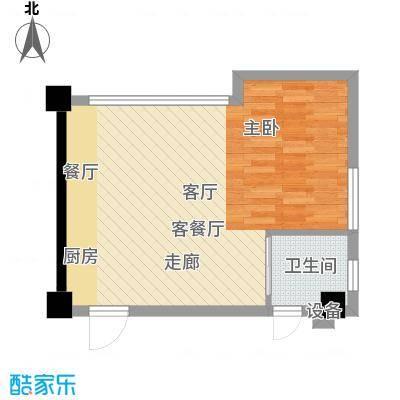 星城国际56.00㎡户型图F户型1室1厅1卫