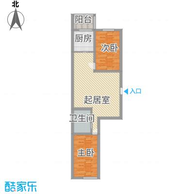 亿隆富贵名苑89.81㎡一期高层户型2室2厅1卫