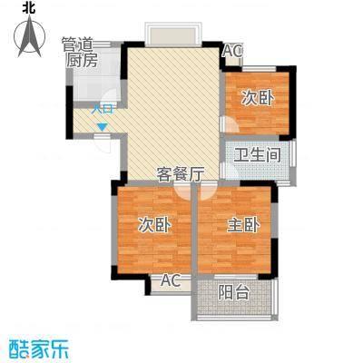 枫林雅都102.11㎡14号楼H型户型3室2厅1卫1厨