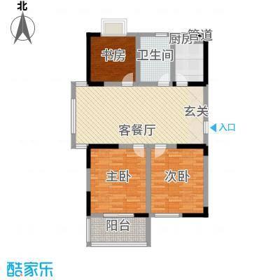 枫林雅都107.36㎡14号楼E型户型3室2厅1卫1厨