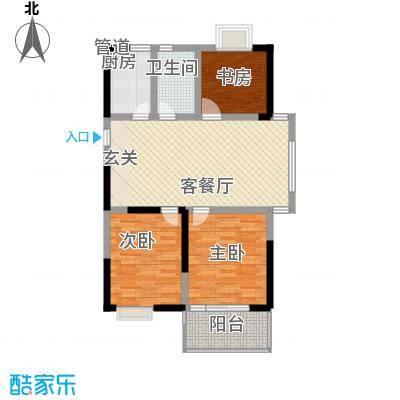 枫林雅都104.86㎡13号楼E型户型3室2厅2卫1厨