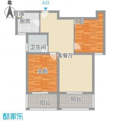 @时代爱特大厦113.69㎡@时代爱特大厦户型图E(2)2室2厅1卫1厨户型2室2厅1卫1厨