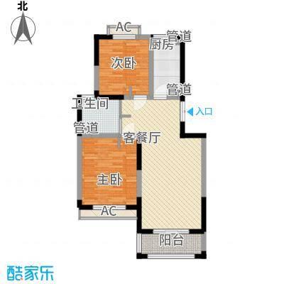 天台星城90.00㎡D2户型2室2厅1卫