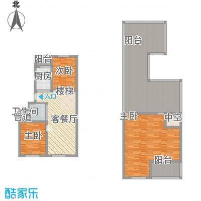 东皇君园82.51㎡新品E2户型2室2厅1卫
