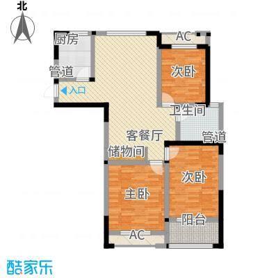 世纪华城二期铂晶湾126.95㎡C瓦勒瑞户型3室2厅1卫1厨