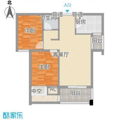 青山湾91.77㎡二期B户型2室2厅1卫1厨