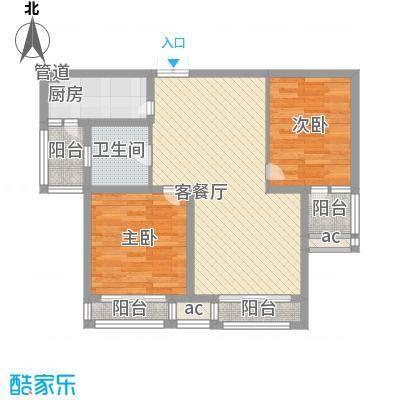 世纪华城91.49㎡世纪华城户型图宽邸C12室2厅1卫1厨户型2室2厅1卫1厨