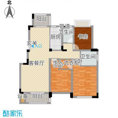 佳兆业悦湖140.00㎡扶林曲径户型3室2厅2卫1厨
